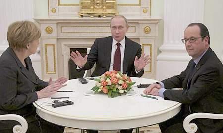 Встреча А.Меркель, Ф.Олланда с В.Путиным в Кремле