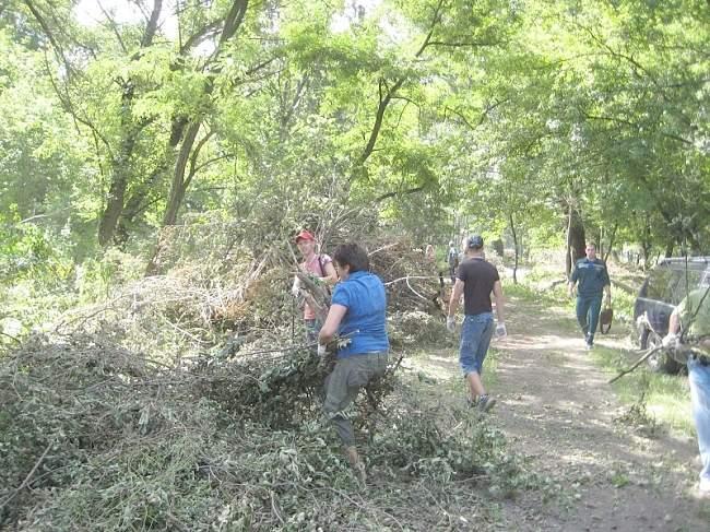 В городском субботнике в парке имени Горького принимали активное участие и профсоюзы (фото)