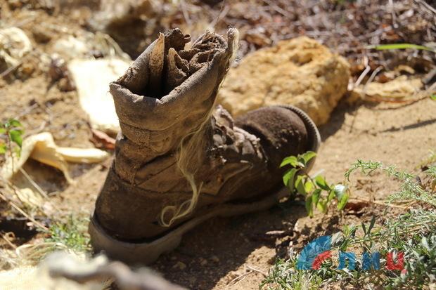 Поисковики ЛНР эксгумировали останки бойца на бывших позициях ВСУ под Лутугино (ФОТО)